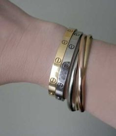 cartier trinity bracelet and love bangles - perfect for valentine's day - hint...hint...!!
