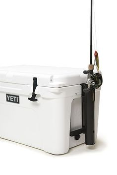 Yeti Cooler Beverage Holder Vertically mounts to the side of your YETI Cooler for easy fishing rod access whether paddling or boating. Works with casting and spinning rods. Heavy-duty polypropylene tu
