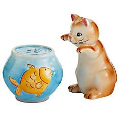 $11 Cat & Fishbowl Salt & Pepper Set,Normally, you'd never put a cat and a fishbowl side by side. But in this case, they actually go together like a horse and carriage. (Psych! You thought we were going to say salt and pepper.)