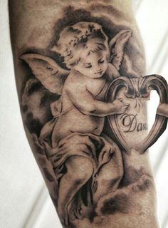 Tattoo Ink Colors, Portrait, Tattoos, Cherub, Tattoo, Angels, Tatuajes, Headshot Photography, Portrait Paintings