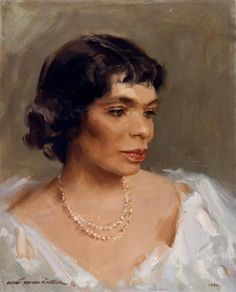 Marian Anderson Painter: Evertt Raymond Kinstler x 1990 The Harvard Club, New York City Oil Portrait, Female Portrait, Painting Of Girl, Painting & Drawing, Marian Anderson, American Illustration, Black Actors, Opera Singers, Easy Paintings