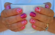 My newest jamicure .... featuring Jamberry's CARMEN OMBRE, accented with FIERCE FUCHSIA. I'll post links for each below. :)  You can have cute and pretty nails too... connect with me!! Dhea https://dheapowers.jamberry.com/