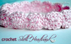 Crochet Shell Headband - Free Pattern! I made this and it turned out really cute, but will use a smaller hook next time...it seemed a bit bulky for a baby headband.