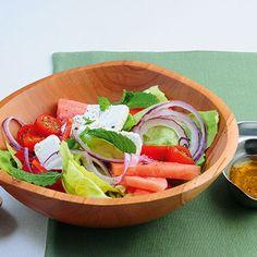 Bauernsalat mit Feta und Melone Rezept   Küchengötter