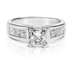 1.50CT Princess Cut Diamonds Engagement Ring In 14KT White Gold ...