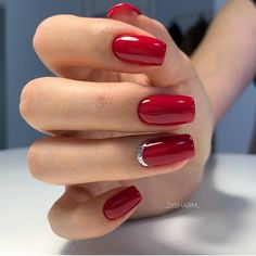 A manicure is a cosmetic elegance therapy for the finger nails and hands. A manicure could deal with just the hands, just the nails, or Red Gel Nails, Red Nail Art, Red Acrylic Nails, Manicure And Pedicure, Red Manicure, Red Nails With Glitter, Red Sparkle Nails, Red And Silver Nails, Cute Nails