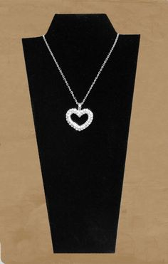 "1"" Double CZ Heart Pendant w/18"" Chain"