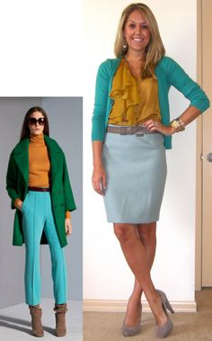 I'm only repinning this to show the mustard/turquoise combo. The outfit in the left corner is yuck.