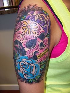 Colorful sugar skull tattoo, I love the hint of realism!