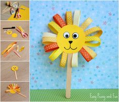 Ribbon Lion Puppet Craft - Lion Crafts for Kids - Easy Peasy and Fun