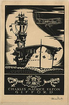 Adrian FEINT bookplate for Charles Maurice Elton Gifford. (1933)