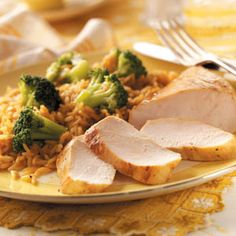 Gingered Chicken Dinner ...(chicken, rice and broccoli ...maybe add some rolls and sweet tea and you're set!!!)
