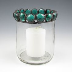 recycled bottle votive candle holder, clear with teal nuggets