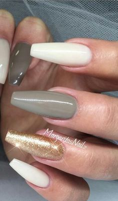 Olive green taupe gold glitter nails