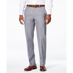 Calvin Klein Men's Neat Slim-Fit Dress Pants ($29) ❤ liked on Polyvore featuring men's fashion, men's clothing, men's pants, men's dress pants, grey, mens dress pants, mens grey dress pants, calvin klein mens pants, mens slim fit pants and mens suit pants