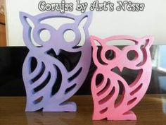 Dupla corujas vazadas G-P (lilás e rosa) 1