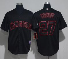 angels of anaheim 27 mike trout black strip stitched mlb jersey