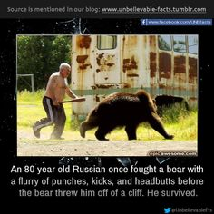 an 80 year old Russian once fought a bear with a flurry of punches, kicks, and headbutts before the bear threw him off of a cliff. He survived. The bear approached Alchagirov, 80, in a raspberry field...