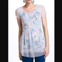 Anthro Meadow Rue Layered Dahlia top Watercolor shades under a sheer layer...so pretty. Bundle for discount Anthropologie Tops
