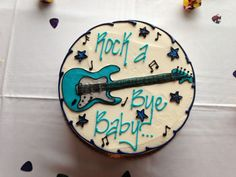 Erica, This is a good choice for Buttercream frosting. Rock n roll themed baby shower Music Baby Showers, Rock Baby Showers, White Baby Showers, Star Baby Showers, Baby Shower Cakes For Boys, Baby Shower Themes, Baby Boy Shower, Shower Ideas, Shower Party