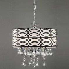 Warehouse of Tiffany Roxanne 17-in W Brown/Chrome Crystal Accent Pendant Light with Fabric Shade - love this for the sunroom.
