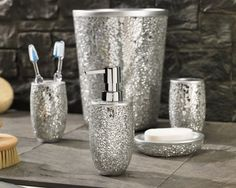 silver Bathroom Decor Magic Bathroom Accessories Collection - these are perfect for adding some texture and sparkle to your bathroom Glitter Bathroom, Bling Bathroom, Silver Bathroom, Bathroom Sets, Bathroom Storage, Bathroom Things, Neutral Bathroom, Bathroom Stuff, Glass Bathroom