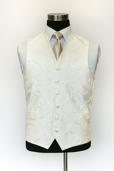 Ivory Silk Etienne Waistcoat With Creme Tie Wedding Waistcoats, Ivory Silk, Vest, Tie, Jackets, Collection, Dresses, Fashion, Down Jackets
