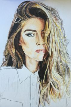 Amber Heard  Drawing by Martina Zanini