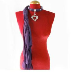 Elegant Scarf with Heart Shaped Jewelry