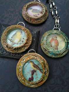 See stunning Vintage Bird Pendants designed by Tejae Floyde, for the Graphics Fairy Mixed Media Design Team. VIdeo. Vintage Ephemera. Polymer Clay.