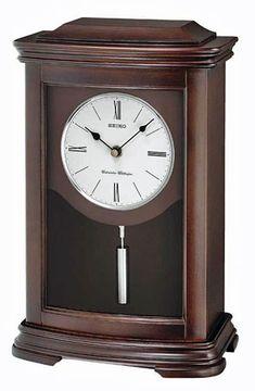 Seiko Clock - Seiko Pendulum Mantel Clock - Dark Brown Alder Wood Case - Desk and Mantel Clocks Tabletop Clocks, Mantel Clocks, Mantel Shelf, Wood Clocks, Westminster, Pendulum Clock, Wood Mantels, Seiko Watches, Retro