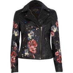 Black leather floral print biker jacket - leather / leather look jackets - coats / jackets - women