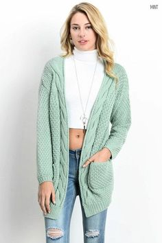 Cozy Cable Knit Cardigan Sweater | Products, Cable and Cardigans