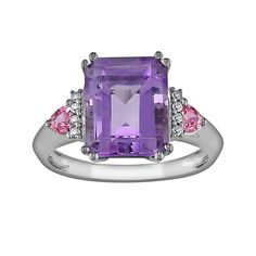 10k White Gold Amethyst, Pink Sapphire and Diamond Accent Ring, Women's, Size: 9, Purple