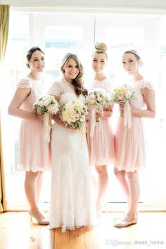 Wholesale Junior Bridesmaid Dresses - Buy Top Selling A Line Crew Short Sleeve Lace Short Sleeve Knee Length Pink Chiffon Bridesmaid Dresses Most Cheap New Party Dresses, $81.89 | DHgate
