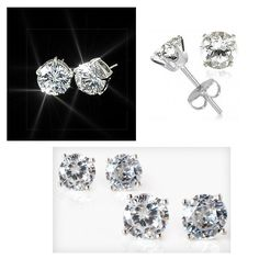 Superstar Sparkle 2 Carat Total Weight Sterling Silver CZ Stud Earrings