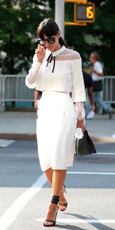 #NYFW Spring 2015 Street Style | White on White Via IMAXTREE