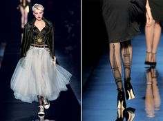 Left, Jean Paul Gaultier,  First collection. Women's pret-a-porter spring/summer 1977.  30th anniversary runway show, October 2006. © Patrice Stable/Jean Paul Gaultier. Right, Jean Paul Gaultier, Fishnet tights, Parisiennes collection.  Haute couture fall/winter 2010-2011.  © Patrice Stable/Jean Paul Gaultier