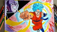 Dibujando a Goku SSJ BLUE KAIOKEN X10 (Dragon ball super)/Speed Draw Gok...