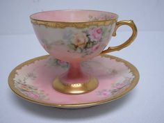 France Limoges Hand  Painted Footed Teacup TEA CUP Saucer W Flowers Gold