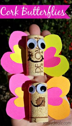 Wine Cork Butterfly Craft For Kids! #DIY #Cork art project #Valentine love bugs