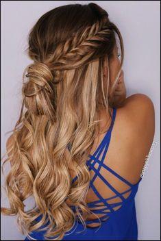 fishtail braid, half up hairstyle, braid, messy bun, hair ...