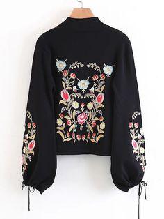 Embroidery Drawstring Lantern Sleeve Sweater -SheIn(Sheinside) Romwe 3c0fcfe4d