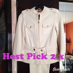 HOST PICK TWICE !!   Tory Burch Pant Suit TORY BURCH by Bergdorf Goodman off white pant suit. Made of cotton. Jacket is zippered and adorned with gold buttons on shoulder and pockets. Length of sleeves is 3/4. Pants are ankle length with front pockets and two pockets in the back. Tory Burch Other