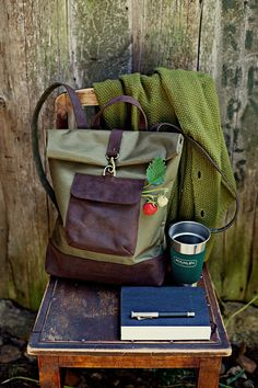 Summer dream. Waxed Canvas and Leather Backpack Canvas and Leather by DingoM