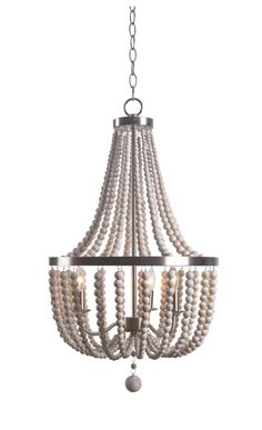 Kenroy Home 93131 Dumas 3 Light Wide Beaded Empire Chandelier with Strands o Brushed Steel Indoor Lighting Chandeliers Wood Bead Chandelier, Wheel Chandelier, Farmhouse Chandelier, Chandelier Bedroom, Empire Chandelier, Chandelier Lighting, Chandeliers, Dining Lighting, House Lighting