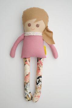Girl Sweetie a Plush Doll Rag Doll Pink Polka by herbunniesthree, $39.00