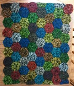 Crocheted afghan for Landon {made June 2013}: ~3.25'x3.25' -- 3 rnd hex 8x8 (black with different color craft thread)