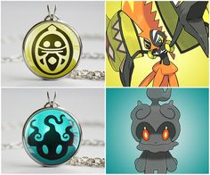 Pokemon Z-Crystal pendants! Marshadow and Tapu Koko #pokemon #nintendo #jewelry power up your Pokemon with Z-Moves from pokemon sun and moon!  Size measures 0.8 inches/22mm   Ready to wear with chain (20 inches/50cm)  Arrives in an adorable organza jewelry bag  Nickel free silver plated