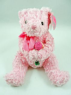 Ty Beanie Pinkys RADIANCE Bear Pink Bear with Flowers 2004 NWT  Ty Beanie  Babies f9ec7556a7ff